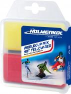 Мазь скольжения твердая для лыж и сноубордов HOLMENKOL Worldcup Mix HOT Yellow-Red